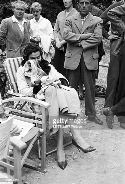 Curd Jurgens Marries Simone Bicheron. Allemagne Fédérale- 17 Septembre 1958- Dans la forêt Rhénane, lors d'un tournage de film et de sa lune de miel...