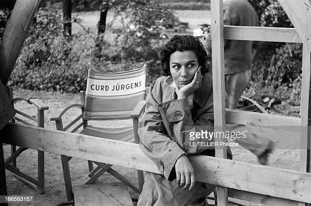 Curd Jurgens Marries Simone Bicheron. Allemagne Fédérale- 17 Septembre 1958- Dans la forêt Rhénane, lors de sa lune de miel avec l'acteur de cinéma...