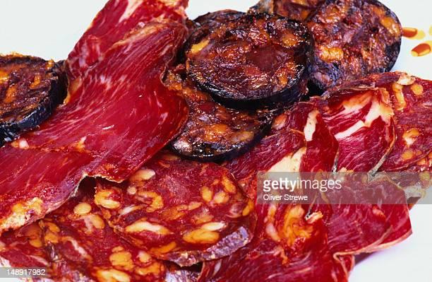 "Cured meats of the area. Lomo Iberico, Chorizo Iberico and "" Sanchez Romero Carvajal ""."