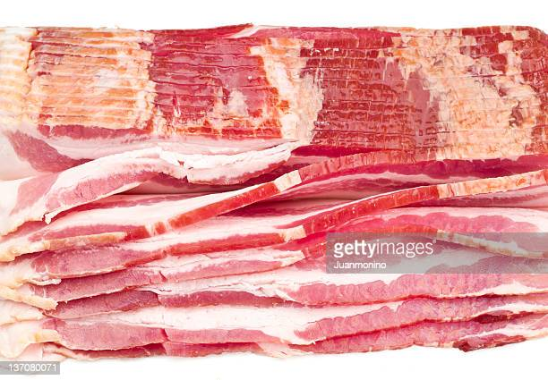 Cured, smoked Raw Bacon Slices
