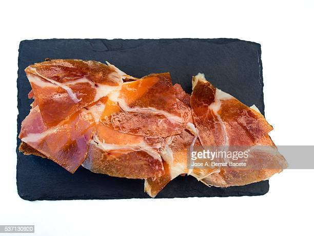 Cured spanish ham and bread snack ready to eat