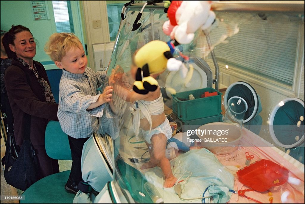 Wilco, the 'bubble child' saved by Dr. Fischer's gene therapy in Paris, France on April 28, 2002. : News Photo