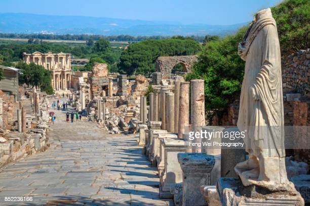 curetes street, ephesus, izmir province, aegean region, turkey - izmir stock pictures, royalty-free photos & images