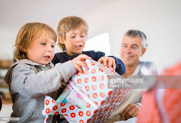 Curious brothers opening Christmas gift at home