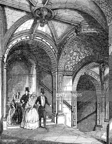 Curious staircase, 1844. Queen Victoria and Prince Albert were the guests of the Marquis of Exeter, at Burghley House near Stamford, Lincolnshire....