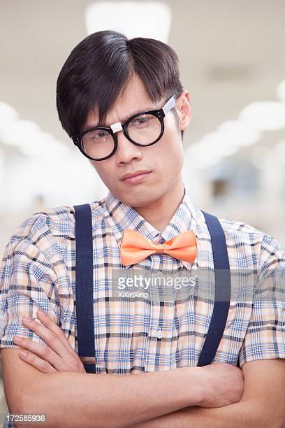 Curious Young Man with Glasses