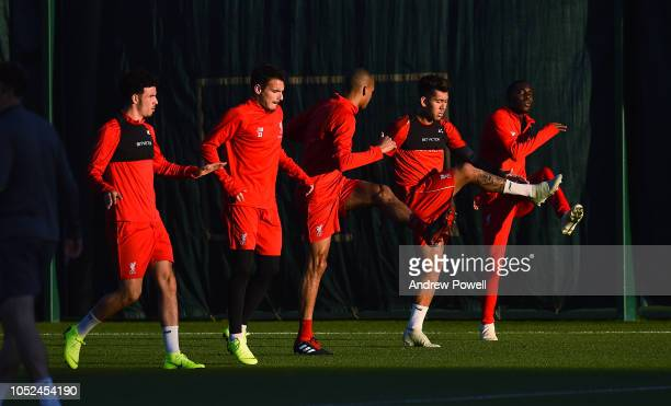 Curits Jones Pedro Chirivella Fabinho Roberto Firmino and Rafael Camacho of Liverpool during a training session at Melwood Training Ground on October...