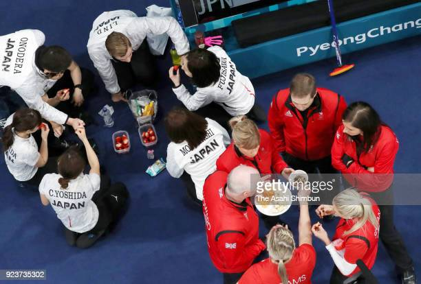 Curlers are seen at the break during the Curling Womens' bronze Medal match between Great Britain and Japan on day fifteen of the PyeongChang Winter...