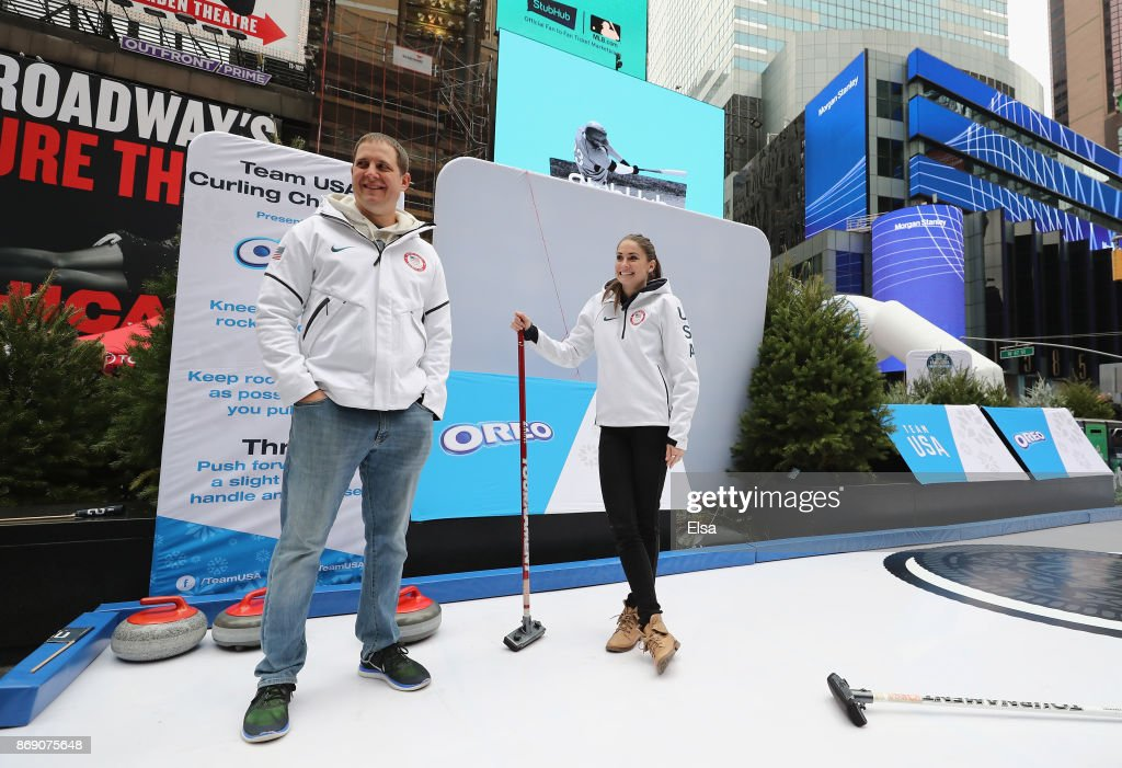 Curlers John Shuster and Jamie Sinclair attend the 100 Days Out 2018 PyeongChang Winter Olympics Celebration - Team USA in Times Square on November 1, 2017 in New York City.
