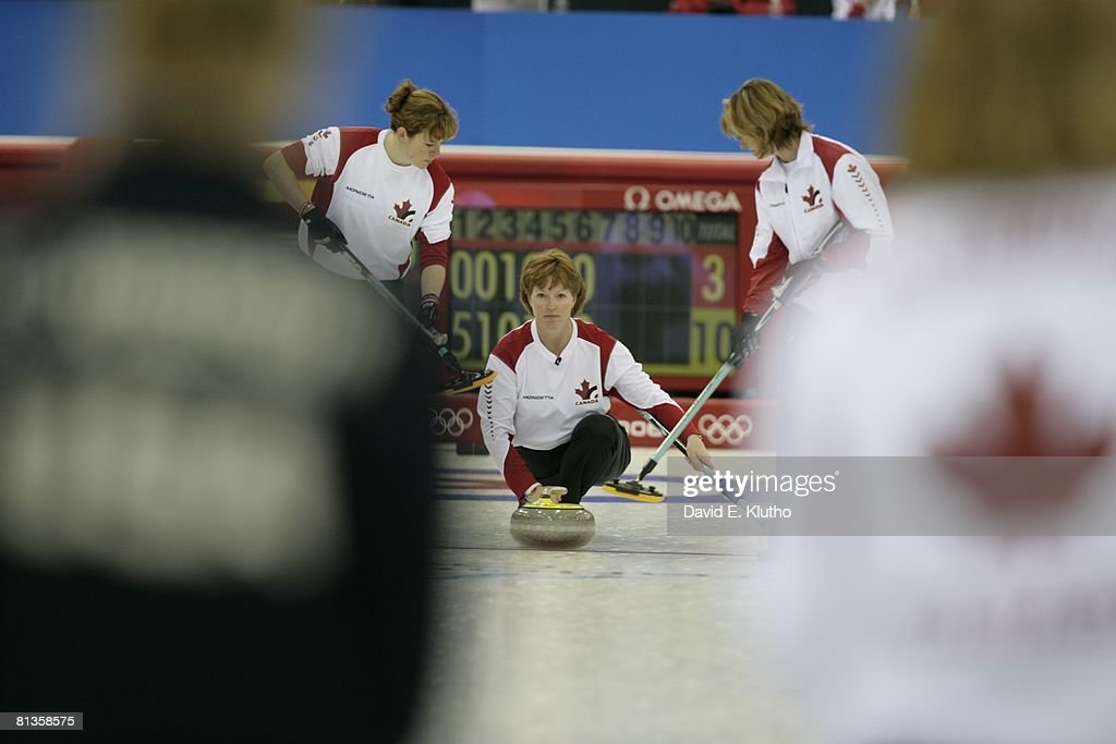 2006 Winter Olympics Canada Glenys Bakker In Action Throwing Stone During Womens Round Robin