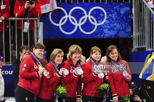 2010 Winter Olympics Canada Kristie Moore Cori Bartel Carolyn Darbyshire Susan O'Connor and Cheryl Bernard after winning silver vs Sweden during...