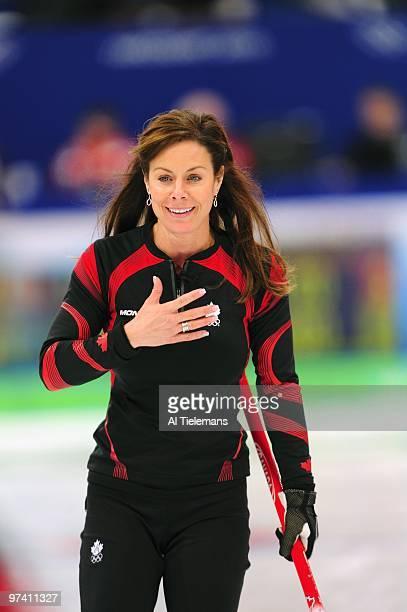 2010 Winter Olympics Canada skip Cheryl Bernard during match vs Sweden during Women's Gold Medal Game at Vancouver Olympic Centre Vancouver Canada...