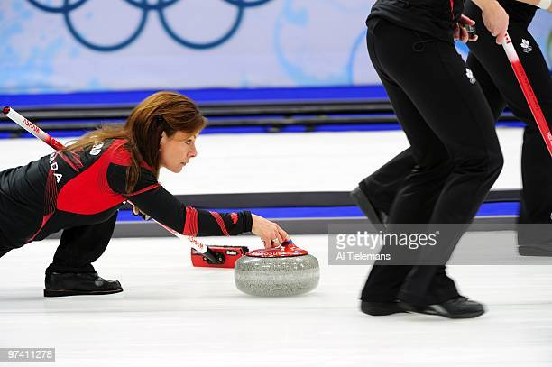 2010 Winter Olympics Canada skip Cheryl Bernard in action vs Sweden during Women's Gold Medal Game at Vancouver Olympic Centre Vancouver Canada...
