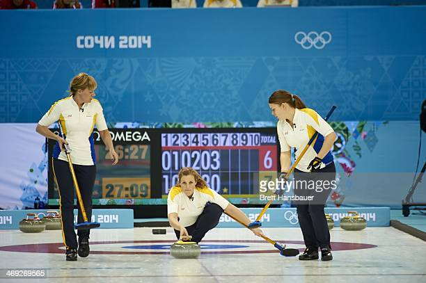 2014 Winter Olympics Team Sweden Christina Bertrup Maria Wennerstroem and Maria Prytz in action during Women's Round Robin Session 5 at Ice Cube...