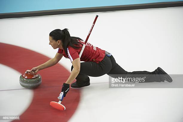 2014 Winter Olympics Team Switzerland Carmen Schaefer in action during Women's Round Robin Session 5 at Ice Cube Curling Center Sochi Russia...
