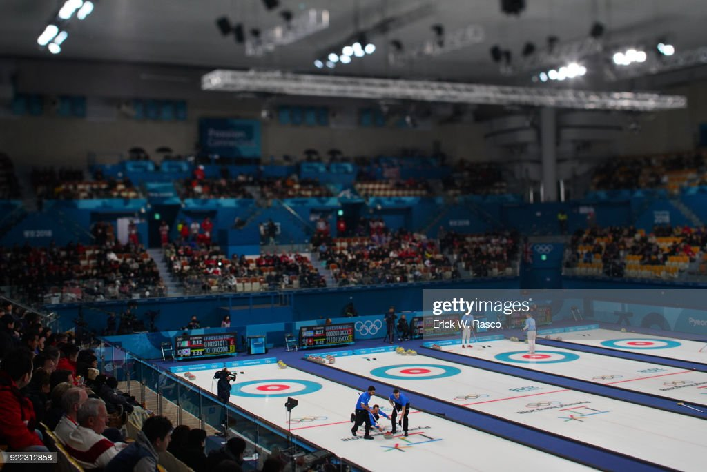 Overall view of Team Italy in action vs Team South Korea during Men's Round Robin Session 9 at Gangneung Curling Centre. Erick W. Rasco X161685 TK1 )