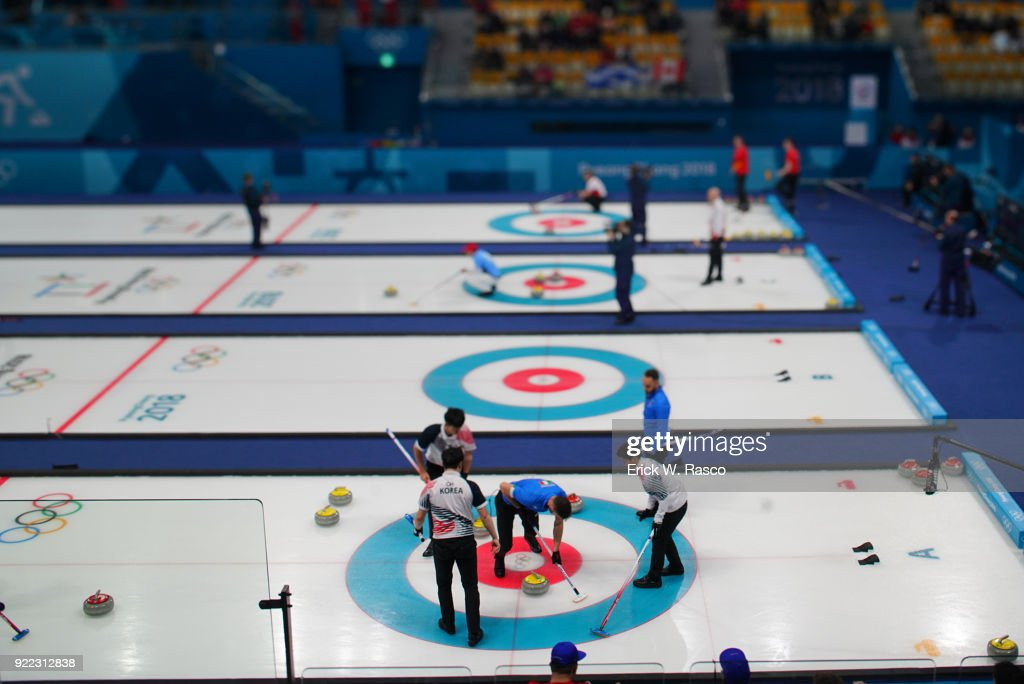 Overall view of Team South Korea in action vs Team Italy during Men's Round Robin Session 9 at Gangneung Curling Centre. Erick W. Rasco X161685 TK1 )