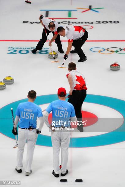 2018 Winter Olympics Team Canada sweepers Brent Laing and Ben Hebert in action vs Team USA John Schuster and Tyler George during Men's Round Robin...