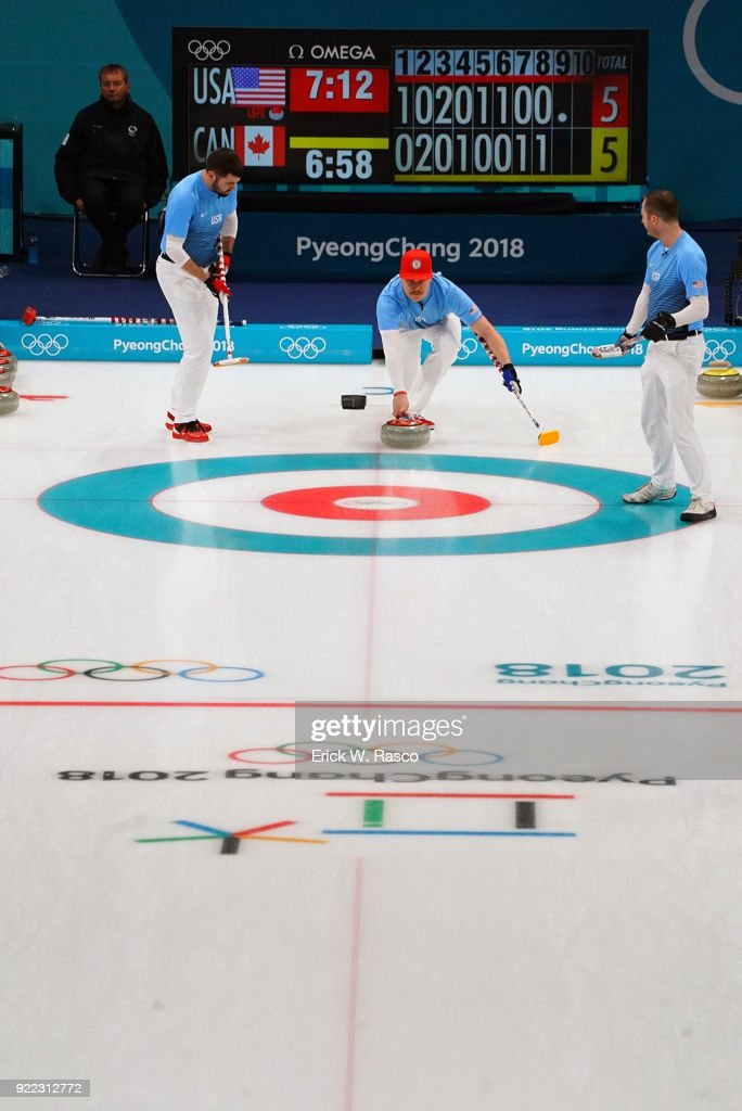 Team USA John Schuster at skip in action releasing stone with sweepers John Landsteiner and Tyler George vs Team Canada during Men's Round Robin Session 9 at Gangneung Curling Centre. Erick W. Rasco X161685 TK1 )