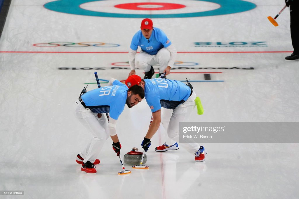 Team USA John Schuster at skip watches sweepers Matt Hamilton and John Landsteiner in action vs Team Canada during Men's Round Robin Session 9 at Gangneung Curling Centre. Erick W. Rasco X161685 TK1 )