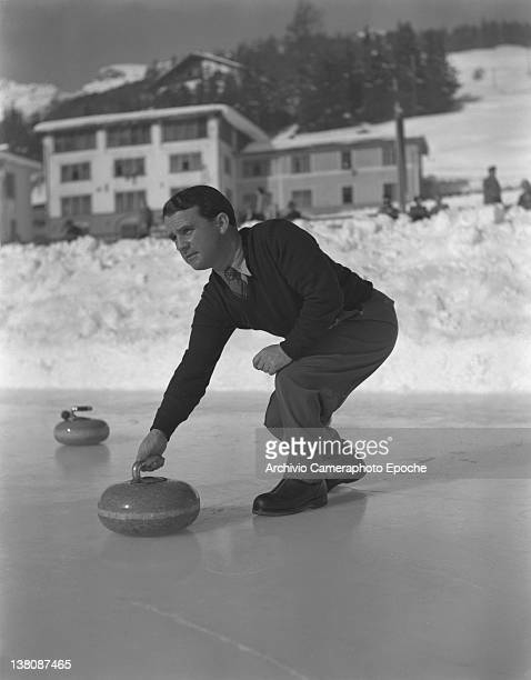 Curling Game on ice in St Moritz fot the Winter Olympics Games 1950s