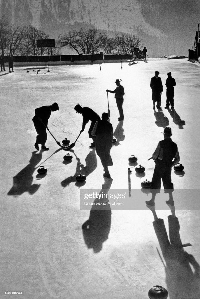 Curling is a very popular sport, St. Moritz, Switzerland, December 17, 1936.