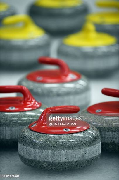 Curling stones are pictured as women competitors participate in the Scottish Senior Curling Championships which feature competitors over the age of...