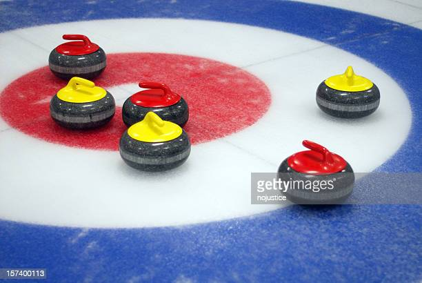 curling target - curling stone stock pictures, royalty-free photos & images
