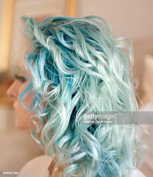 curly blue hair - blue hair stock pictures, royalty-free photos & images