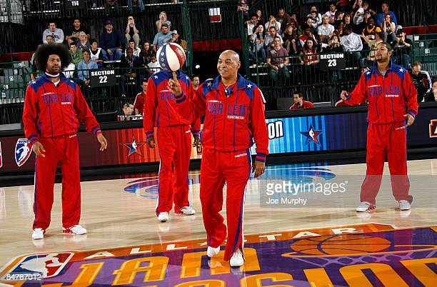 Curly Neal and other Harlem Globetrotter members entertain the fans on center court during NBA Jam Session Presented by Adidas on February 12 2009 at...