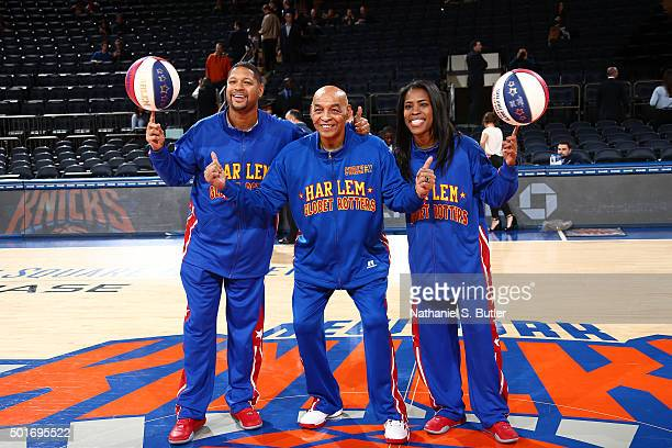 Curly Neal of the Harlem Globetrotters pose with his teammates before the New York Knicks against the Minnesota Timberwolves game on December 16 2015...