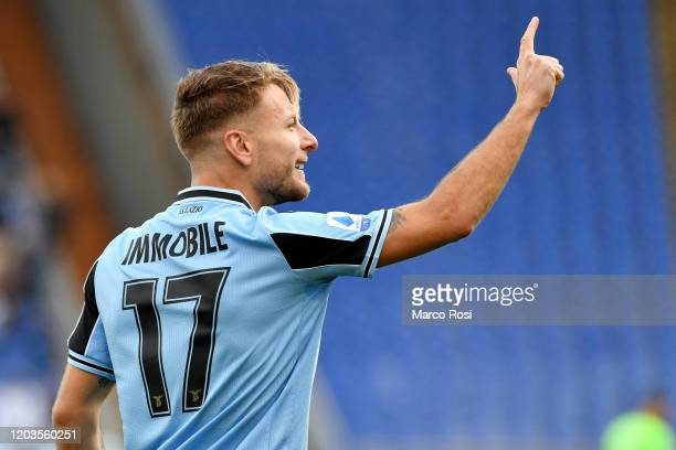 Curo Immobile of SS Lazio celebrates a opening goal during the Serie A match between SS Lazio and SPAL at Stadio Olimpico on February 02 2020 in Rome...