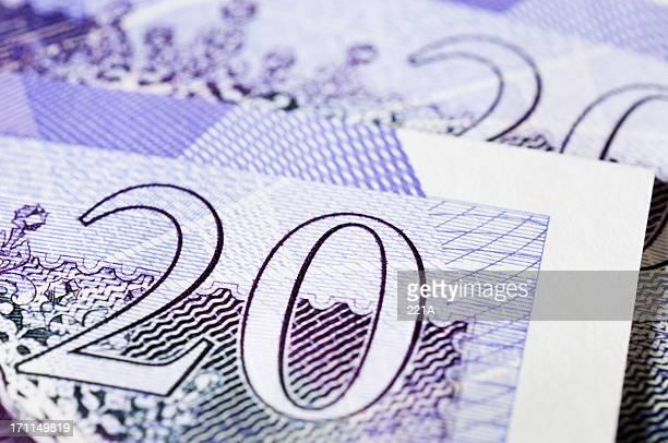 uk currency - £20 notes - twenty pound note stockfoto's en -beelden