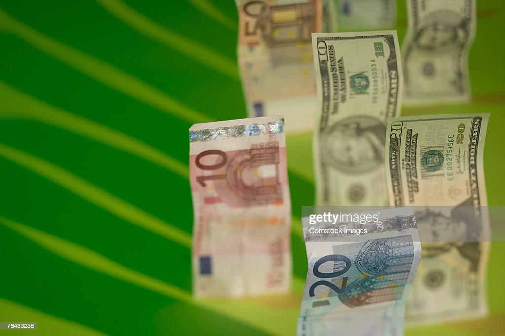 US currency and Euros : Stockfoto