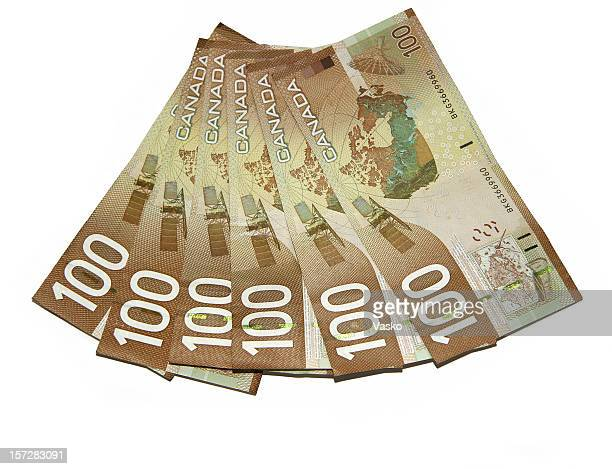 currency - canadian hundreds - canadian dollars stock pictures, royalty-free photos & images