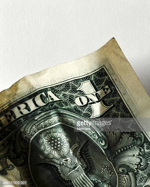 us currency: corner of one dollar bill, close-up - microzoa stock pictures, royalty-free photos & images