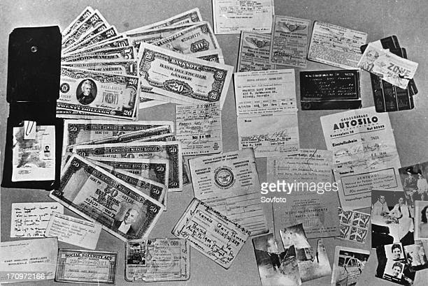 Currency documents and personal photographs found on u2 spy plane pilot francis gary powers after he was shot down over soviet territory on may 1 ussr