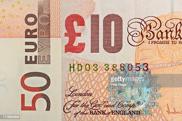 currency, euro and sterling note - british pound note stock pictures, royalty-free photos & images