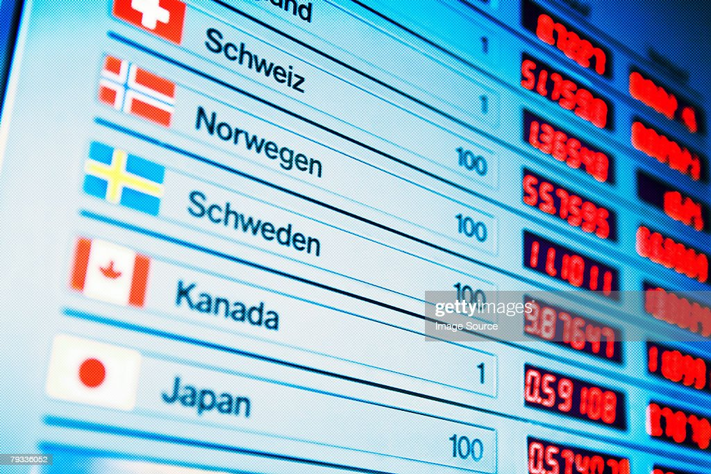 Currency exchange board : Stock Photo