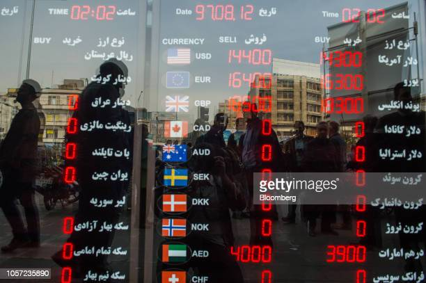 A currency exchange rate information board stands in the window of a store in Tehran Iran on Saturday Nov 3 2018 Irans Supreme Leader Ayatollah...