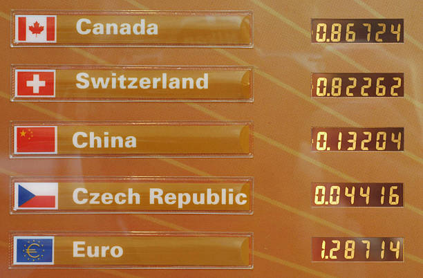 Currency Exchange Rates Are Pictured On A Board Outside An