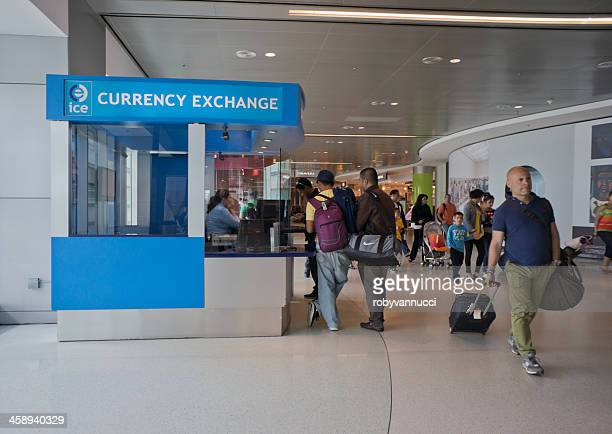 currency exchange service in miami airport - bureau de change stock photos and pictures