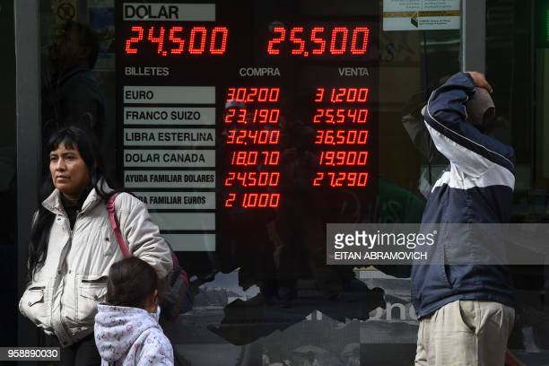 Currency exchange values are seen in the buysell board of a bureau de change in downtown Buenos Aires on May 15 2018 Argentina's currency faced a...