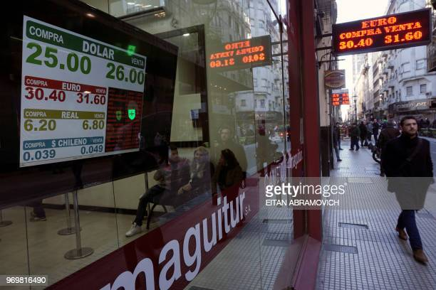 Currency exchange values are seen in the buysell board of a bureau de change in the financial district of Buenos Aires on June 08 2018 Argentinian...