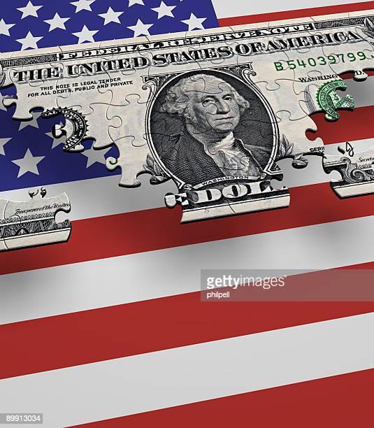 米国通貨の国旗パズル