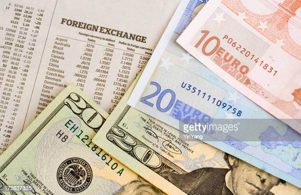 Currency Foreign Exchange Rates for US Dollars and European Euros