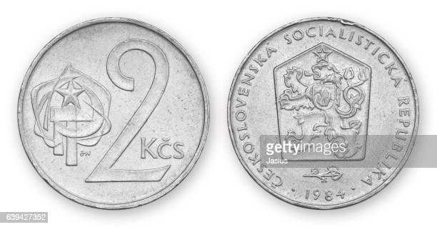 currency metal coin macro photo with white background - チェコ共和国 ストックフォトと画像
