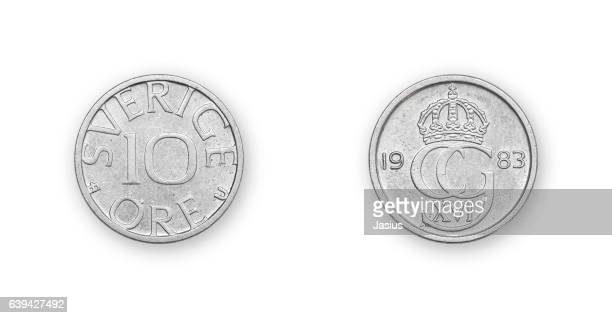 currency metal coin macro photo with white background - スウェーデン通貨 ストックフォトと画像