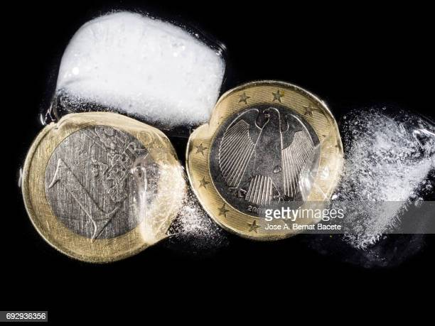Currency of an Euro between chunks of ice, concept on the monetary crisis of the euro-zone