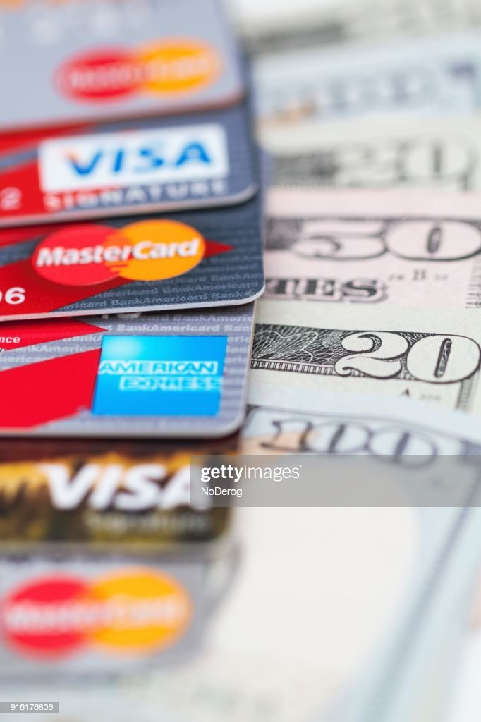 Row Of Various Credit Cards